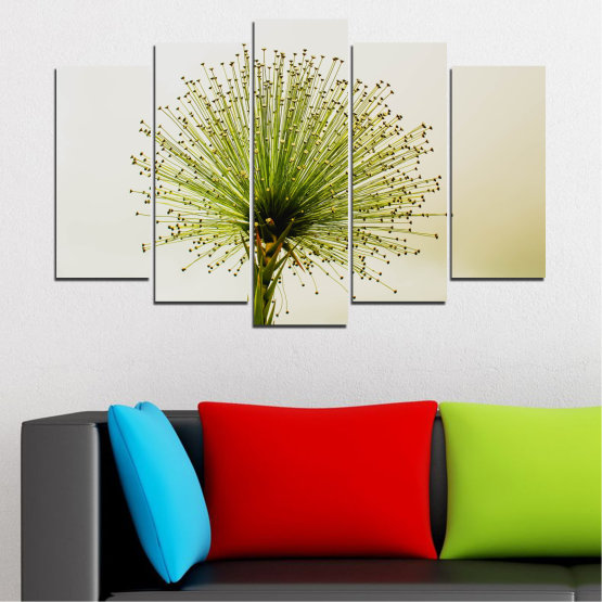 Canvas prints & wall decorative panels - 5 pieces №0710 » Green, White, Beige » Flower, Spring, Plant, Herb Form #1