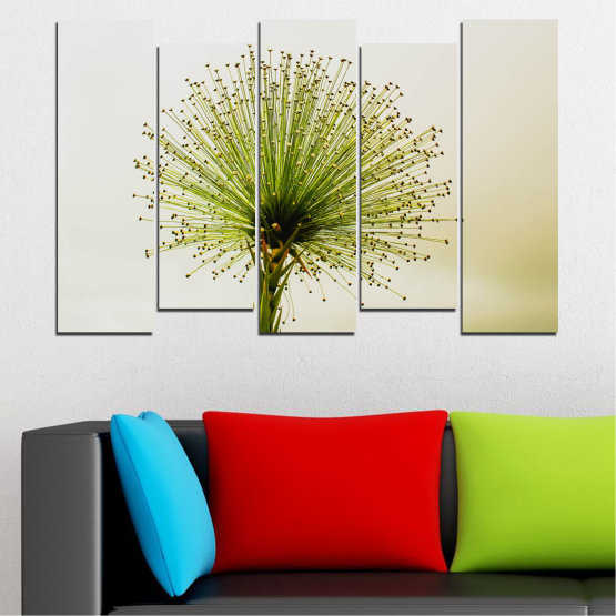 Canvas prints & wall decorative panels - 5 pieces №0710 » Green, White, Beige » Flower, Spring, Plant, Herb Form #3
