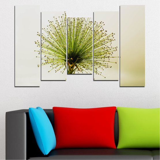 Canvas prints & wall decorative panels - 5 pieces №0710 » Green, White, Beige » Flower, Spring, Plant, Herb Form #4