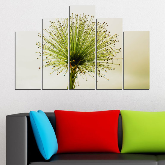 Canvas prints & wall decorative panels - 5 pieces №0710 » Green, White, Beige » Flower, Spring, Plant, Herb Form #5