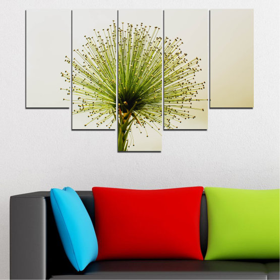 Canvas prints & wall decorative panels - 5 pieces №0710 » Green, White, Beige » Flower, Spring, Plant, Herb Form #6
