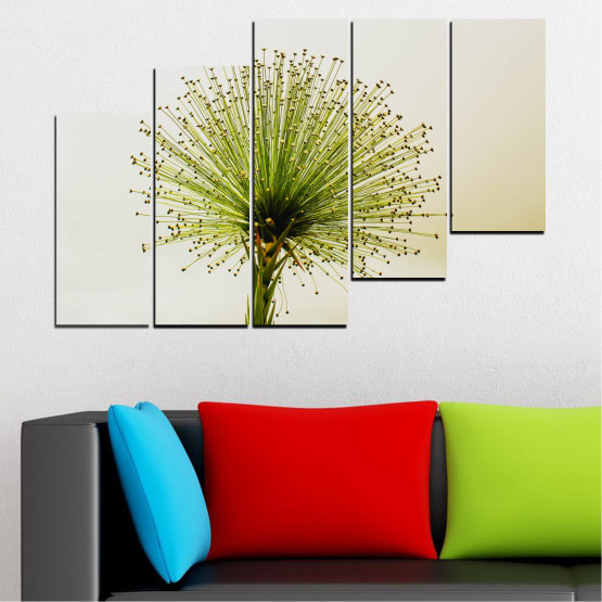 Canvas prints & wall decorative panels - 5 pieces №0710 » Green, White, Beige » Flower, Spring, Plant, Herb Form #8
