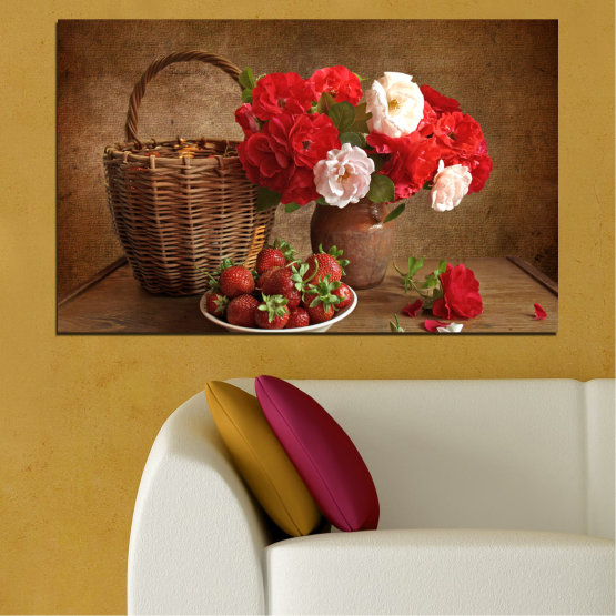 Canvas prints & wall decorative panels - 1 piece №0711 » Red, Brown, Black » Flower, Bouquet, Flower arrangement, Natural, Basket Form #1