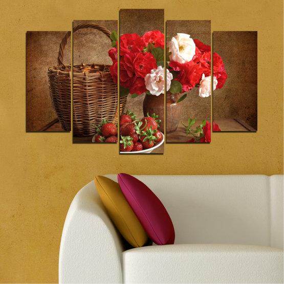 Canvas prints & wall decorative panels - 5 pieces №0711 » Red, Brown, Black » Flower, Bouquet, Flower arrangement, Natural, Basket Form #1
