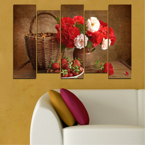 Canvas prints & wall decorative panels - 5 pieces №0711 » Red, Brown, Black » Flower, Bouquet, Flower arrangement, Natural, Basket Form #3