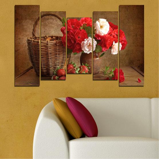 Canvas prints & wall decorative panels - 5 pieces №0711 » Red, Brown, Black » Flower, Bouquet, Flower arrangement, Natural, Basket Form #4