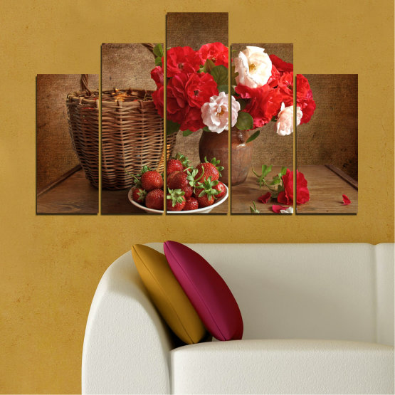 Canvas prints & wall decorative panels - 5 pieces №0711 » Red, Brown, Black » Flower, Bouquet, Flower arrangement, Natural, Basket Form #5