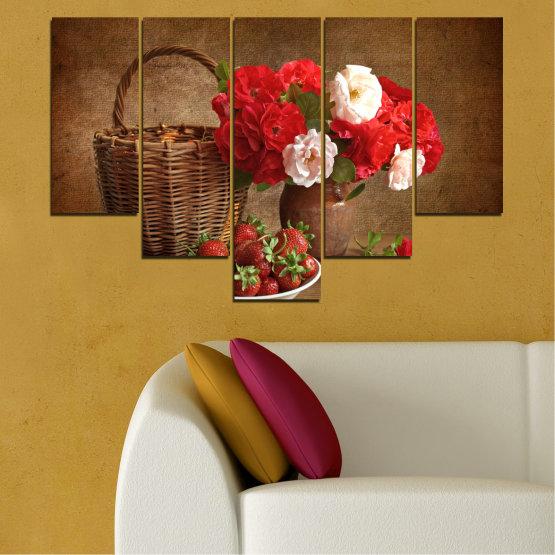 Canvas prints & wall decorative panels - 5 pieces №0711 » Red, Brown, Black » Flower, Bouquet, Flower arrangement, Natural, Basket Form #6