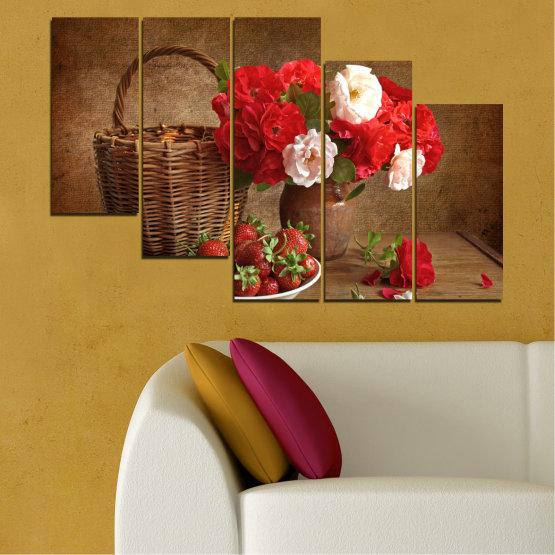 Canvas prints & wall decorative panels - 5 pieces №0711 » Red, Brown, Black » Flower, Bouquet, Flower arrangement, Natural, Basket Form #7