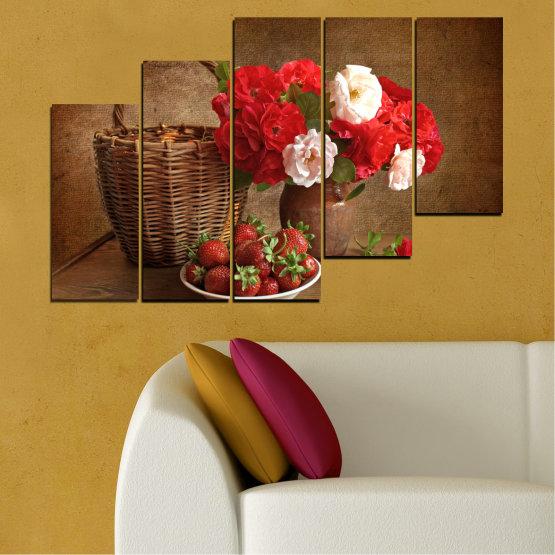 Canvas prints & wall decorative panels - 5 pieces №0711 » Red, Brown, Black » Flower, Bouquet, Flower arrangement, Natural, Basket Form #8