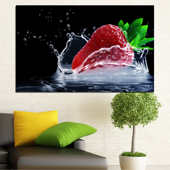 Canvas prints & wall decorative panels - 1 piece №0713 » Red, Green, Black » Water, Fresh, Strawberries Form #1
