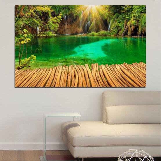 Canvas prints & wall decorative panels - 1 piece №0714 » Green, Yellow, Brown » Waterfall, Lake, Plitvice lakes, Croatia, Park Form #1