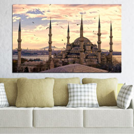 Султан ахмед, Истанбул, Султан ахмед джамия, Ислям » Оранжев, Сив, Бежов, Тъмно сив