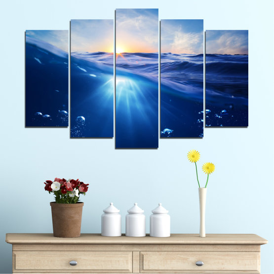 Canvas prints & wall decorative panels - 5 pieces №0716 » Blue, Turquoise, Orange » Water, Sun, Sunrise, Sunlight, Wave Form #1