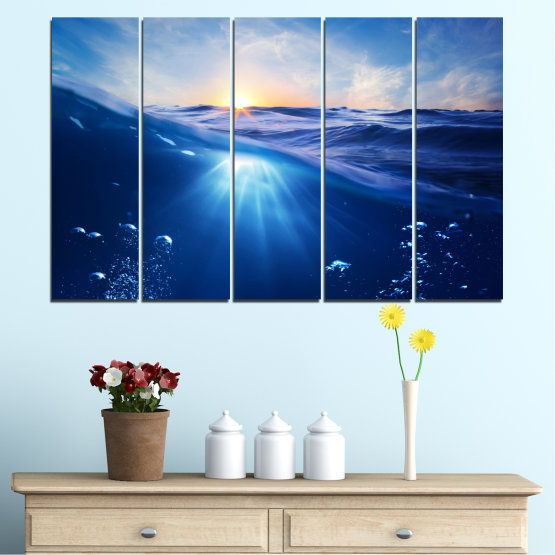Canvas prints & wall decorative panels - 5 pieces №0716 » Blue, Turquoise, Orange » Water, Sun, Sunrise, Sunlight, Wave Form #2