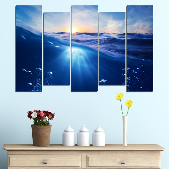 Canvas prints & wall decorative panels - 5 pieces №0716 » Blue, Turquoise, Orange » Water, Sun, Sunrise, Sunlight, Wave Form #3
