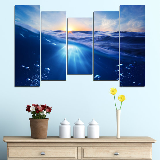 Canvas prints & wall decorative panels - 5 pieces №0716 » Blue, Turquoise, Orange » Water, Sun, Sunrise, Sunlight, Wave Form #4
