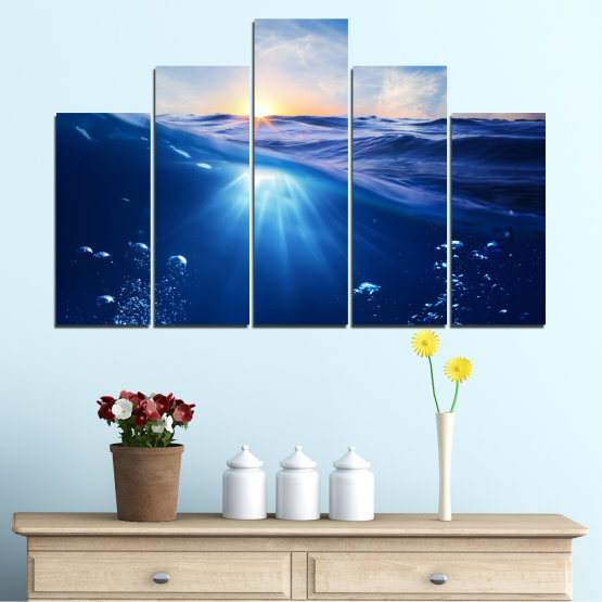 Canvas prints & wall decorative panels - 5 pieces №0716 » Blue, Turquoise, Orange » Water, Sun, Sunrise, Sunlight, Wave Form #5