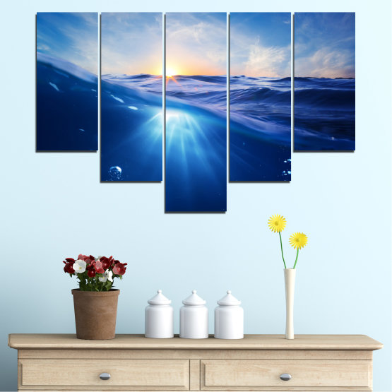Canvas prints & wall decorative panels - 5 pieces №0716 » Blue, Turquoise, Orange » Water, Sun, Sunrise, Sunlight, Wave Form #6