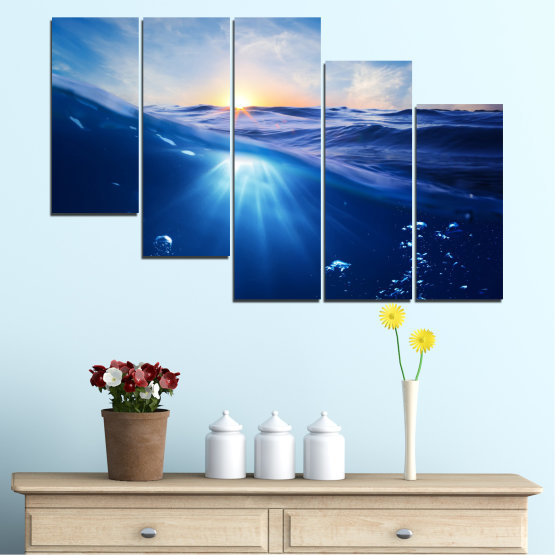 Canvas prints & wall decorative panels - 5 pieces №0716 » Blue, Turquoise, Orange » Water, Sun, Sunrise, Sunlight, Wave Form #7