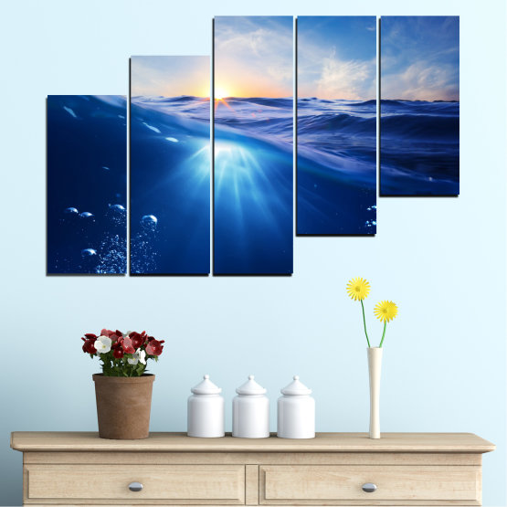 Canvas prints & wall decorative panels - 5 pieces №0716 » Blue, Turquoise, Orange » Water, Sun, Sunrise, Sunlight, Wave Form #8