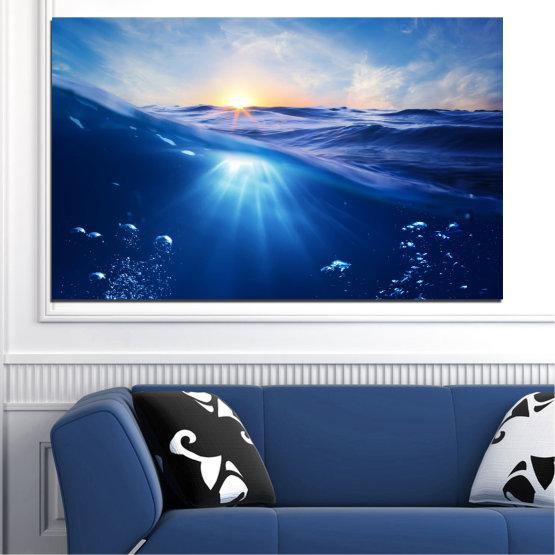 Canvas prints & wall decorative panels - 1 piece №0716 » Blue, Turquoise, Orange » Water, Sun, Sunrise, Wave, Sunlight Form #1