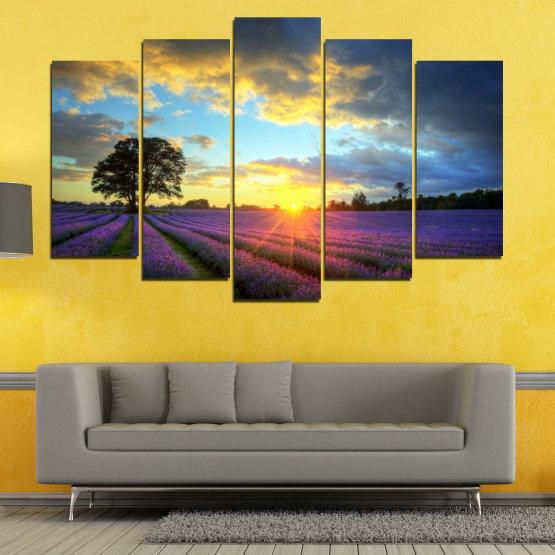 Декоративни панели и картини от канава - от 5 части №0717 » Оранжев, Сив, Бежов, Тъмно сив » Пейзаж, Небе, Хоризонт, Облаци Form #1