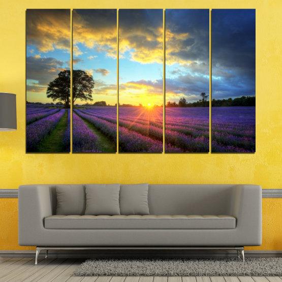 Декоративни панели и картини от канава - от 5 части №0717 » Оранжев, Сив, Бежов, Тъмно сив » Пейзаж, Небе, Хоризонт, Облаци Form #2
