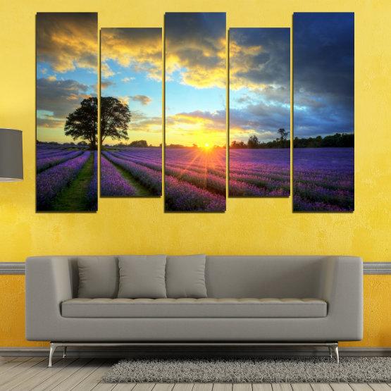 Декоративни панели и картини от канава - от 5 части №0717 » Оранжев, Сив, Бежов, Тъмно сив » Пейзаж, Небе, Хоризонт, Облаци Form #3
