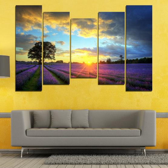 Декоративни панели и картини от канава - от 5 части №0717 » Оранжев, Сив, Бежов, Тъмно сив » Пейзаж, Небе, Хоризонт, Облаци Form #4