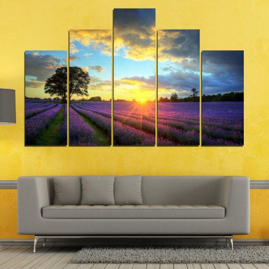 Декоративни панели и картини от канава - от 5 части №0717 » Оранжев, Сив, Бежов, Тъмно сив » Пейзаж, Небе, Хоризонт, Облаци Form #5