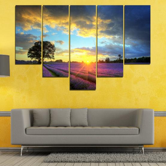 Декоративни панели и картини от канава - от 5 части №0717 » Оранжев, Сив, Бежов, Тъмно сив » Пейзаж, Небе, Хоризонт, Облаци Form #6