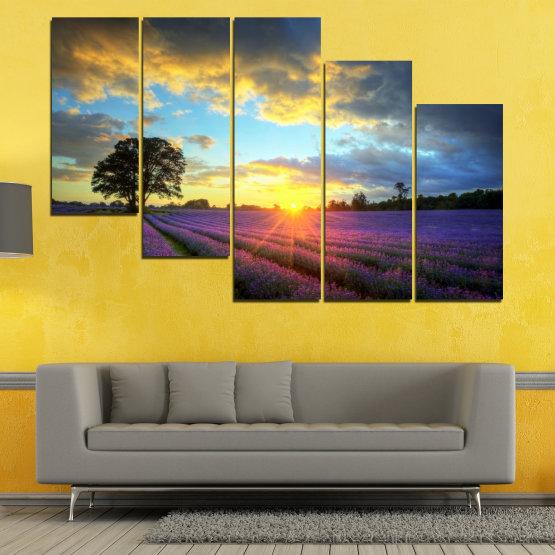Декоративни панели и картини от канава - от 5 части №0717 » Оранжев, Сив, Бежов, Тъмно сив » Пейзаж, Небе, Хоризонт, Облаци Form #7