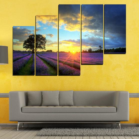 Декоративни панели и картини от канава - от 5 части №0717 » Оранжев, Сив, Бежов, Тъмно сив » Пейзаж, Небе, Хоризонт, Облаци Form #8