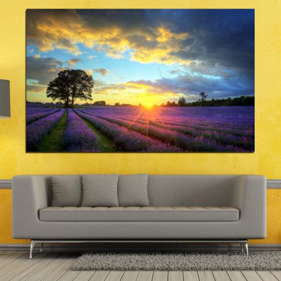 Canvas prints & wall decorative panels - 1 piece №0717 » Orange, Gray, Beige, Dark grey » Landscape, Sky, Horizon, Clouds Form #1