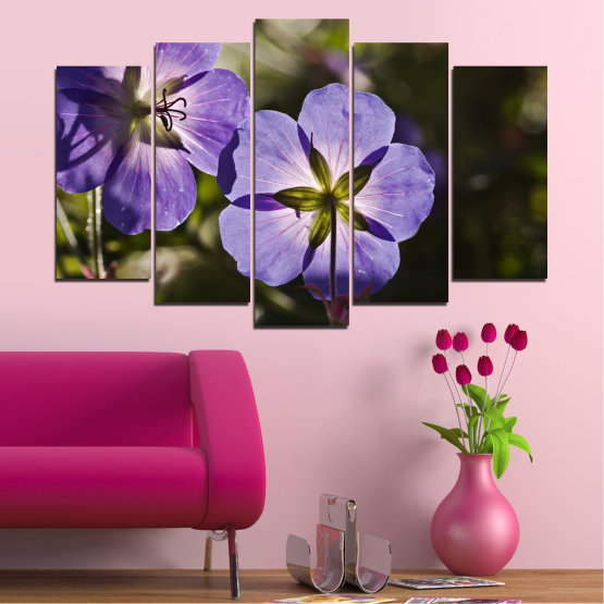 Canvas prints & wall decorative panels - 5 pieces №0718 » Brown, Black, Gray, Dark grey » Flower, Purple, Violet Form #1