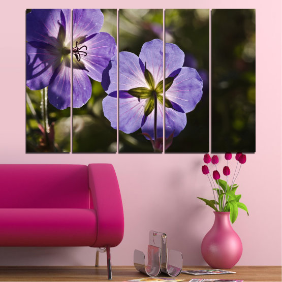 Canvas prints & wall decorative panels - 5 pieces №0718 » Brown, Black, Gray, Dark grey » Flower, Purple, Violet Form #2