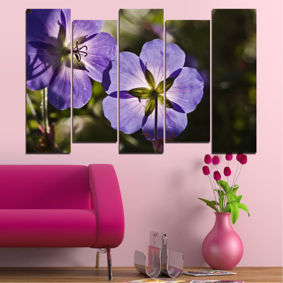 Canvas prints & wall decorative panels - 5 pieces №0718 » Brown, Black, Gray, Dark grey » Flower, Purple, Violet Form #3
