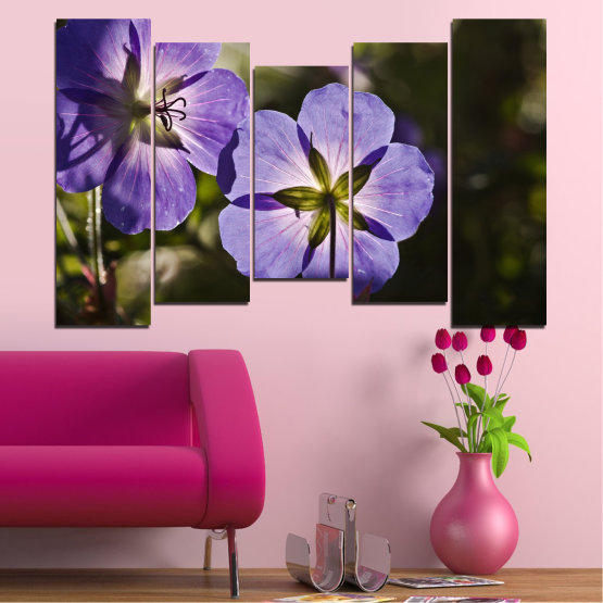 Canvas prints & wall decorative panels - 5 pieces №0718 » Brown, Black, Gray, Dark grey » Flower, Purple, Violet Form #4