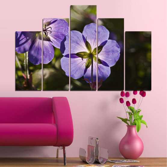 Canvas prints & wall decorative panels - 5 pieces №0718 » Brown, Black, Gray, Dark grey » Flower, Purple, Violet Form #5