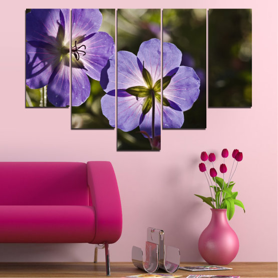 Canvas prints & wall decorative panels - 5 pieces №0718 » Brown, Black, Gray, Dark grey » Flower, Purple, Violet Form #6