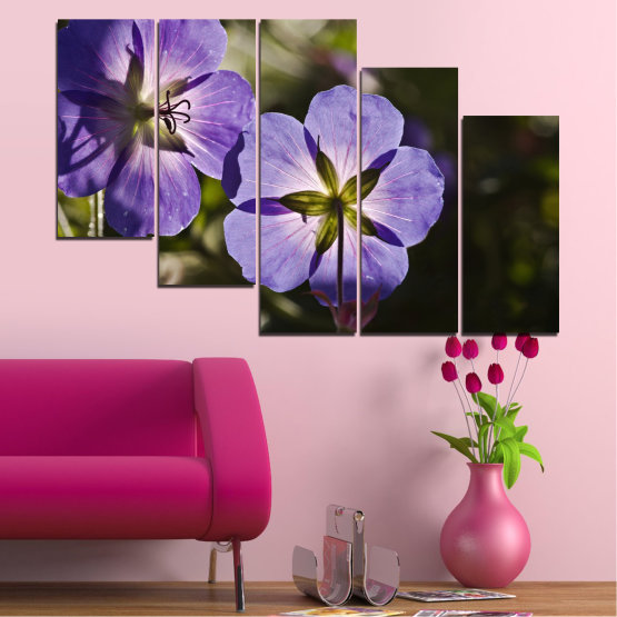 Canvas prints & wall decorative panels - 5 pieces №0718 » Brown, Black, Gray, Dark grey » Flower, Purple, Violet Form #7