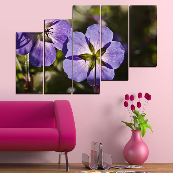 Canvas prints & wall decorative panels - 5 pieces №0718 » Brown, Black, Gray, Dark grey » Flower, Purple, Violet Form #8