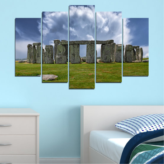 Canvas prints & wall decorative panels - 5 pieces №0719 » Blue, Green, Gray » Sky, Stone, Monument Form #1
