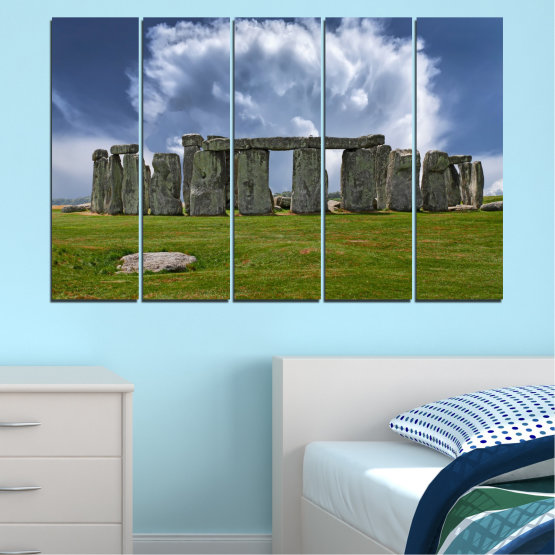 Canvas prints & wall decorative panels - 5 pieces №0719 » Blue, Green, Gray » Sky, Stone, Monument Form #2