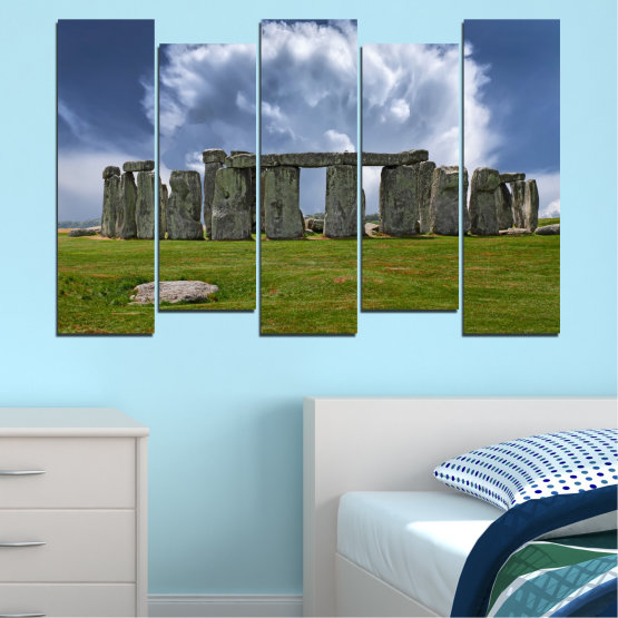 Canvas prints & wall decorative panels - 5 pieces №0719 » Blue, Green, Gray » Sky, Stone, Monument Form #3