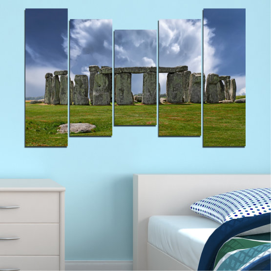 Canvas prints & wall decorative panels - 5 pieces №0719 » Blue, Green, Gray » Sky, Stone, Monument Form #4