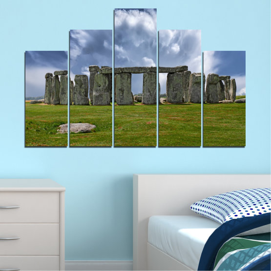 Canvas prints & wall decorative panels - 5 pieces №0719 » Blue, Green, Gray » Sky, Stone, Monument Form #5