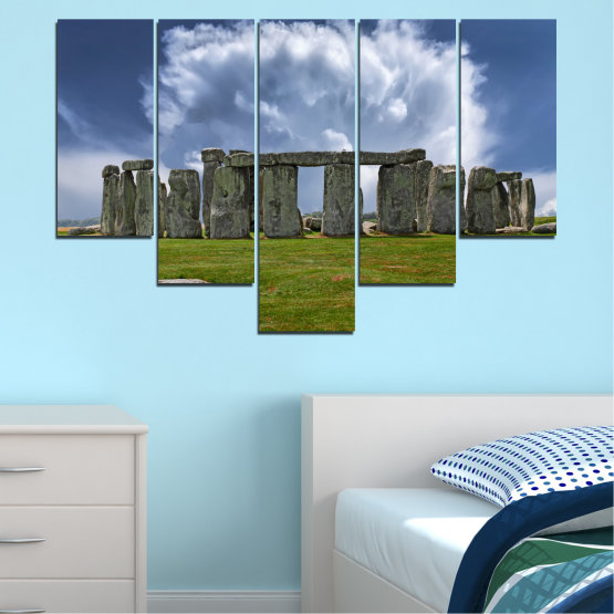 Canvas prints & wall decorative panels - 5 pieces №0719 » Blue, Green, Gray » Sky, Stone, Monument Form #6