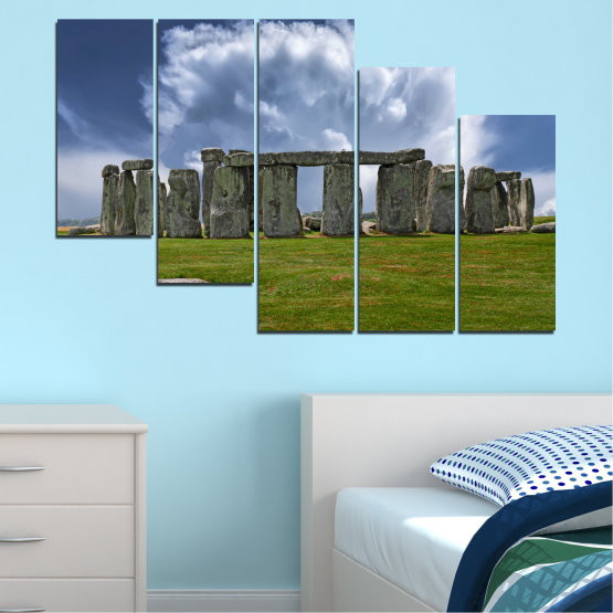 Canvas prints & wall decorative panels - 5 pieces №0719 » Blue, Green, Gray » Sky, Stone, Monument Form #7